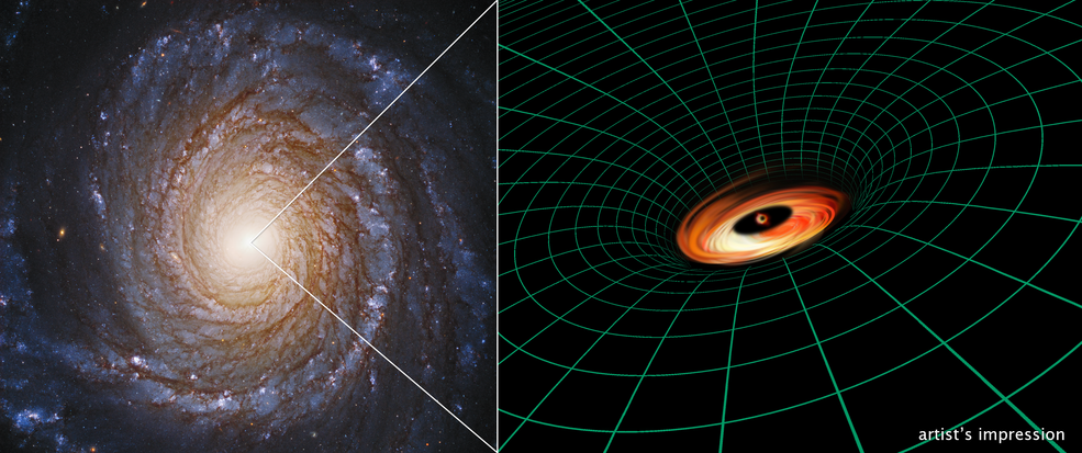 A Hubble Space Telescope image of the spiral galaxy NGC 3147 appears next to an artist's illustration of the supermassive black hole residing at the galaxy's core